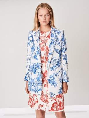 Oscar de la Renta Floral Toile Stretch-Silk Georgette Double-Breasted Blazer