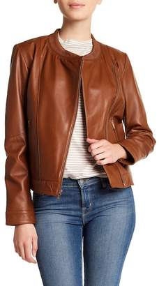 Cole Haan Ribbed Collar Leather Jacket