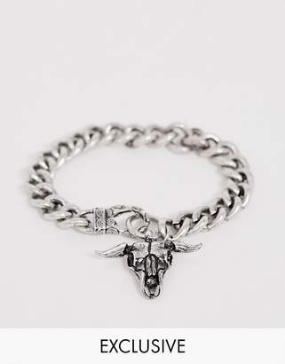 Reclaimed Vintage inspired chunky bracelet with rams head In burnished silver exclusive to ASOS