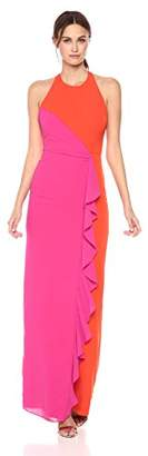 Nicole Miller Women's Heavy Techy Crepe X Back Ruffle Gown