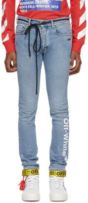 Off-White Off White Blue Logo Skinny Jeans