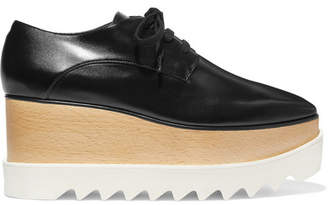 Stella McCartney Elyse Faux Glossed-leather Platform Brogues - Black