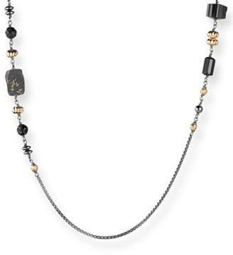 David Yurman Long Chain & Bead Station Necklace, Black