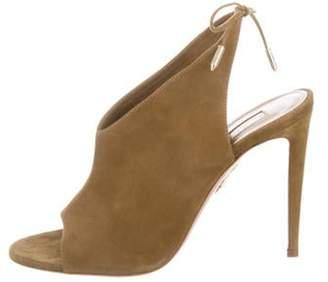 Aquazzura Suede Lace-Up Sandals Olive Suede Lace-Up Sandals