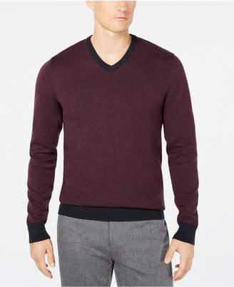 Ryan Seacrest Distinction Men's Mixed Yarn V-Neck Sweater