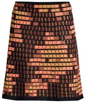 M Missoni Dot Metallic Wool-Blend A-Line Skirt