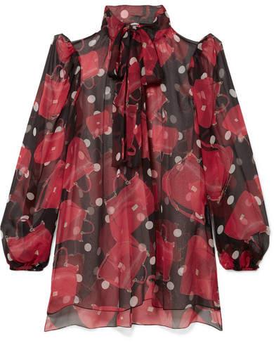 Dolce & Gabbana - Pussy-bow Printed Silk-chiffon Blouse - Black