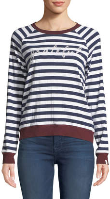 The Upside Goldie Striped Embroidered Long-Sleeve Tee
