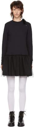 RED Valentino Black Lace Up Shoulder Dress