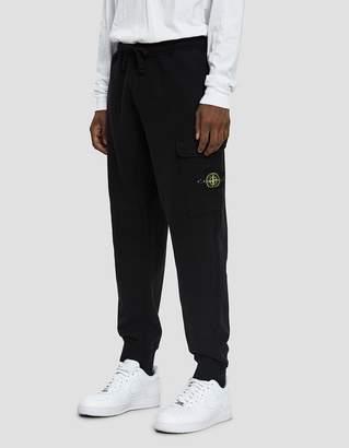 Stone Island Garment Dyed Fleece Cargo Pant in Black