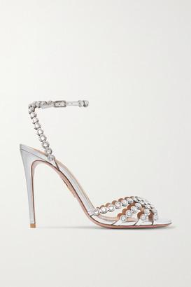 Aquazzura Tequila 105 Crystal-embellished Metallic Leather Sandals - Silver