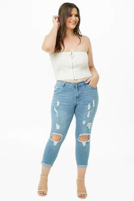 Forever 21 Plus Size Distressed Cropped Jeans