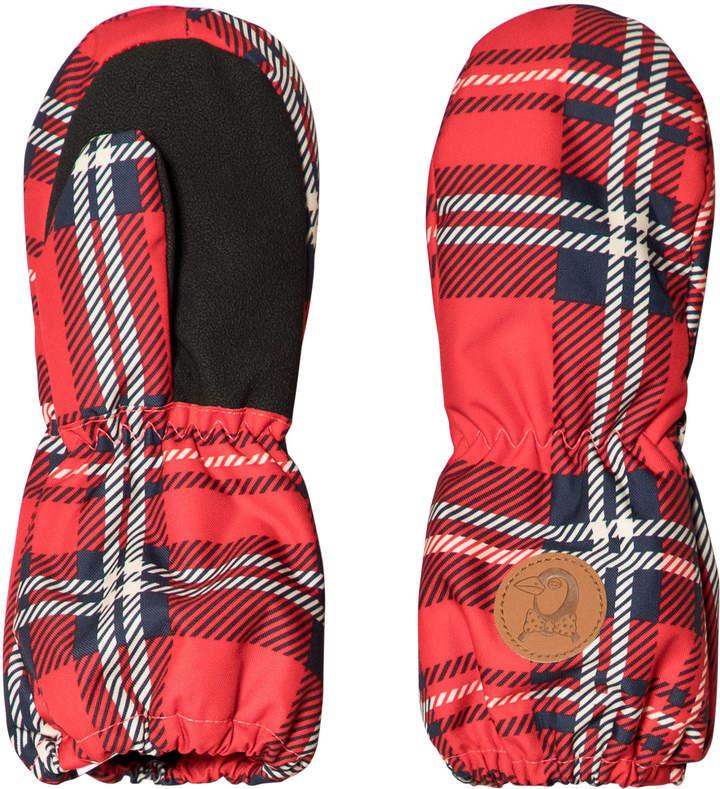 Mini Rodini Red Alaska Check Gloves