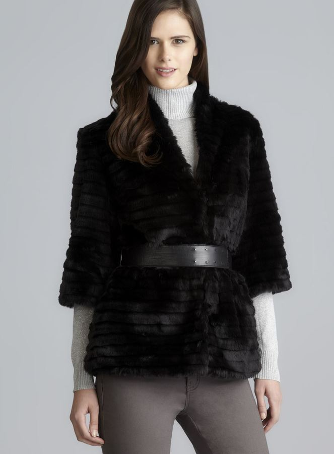 Calvin Klein Faux Fur 3/4-Sleeve Coat With Faux Leather Belt
