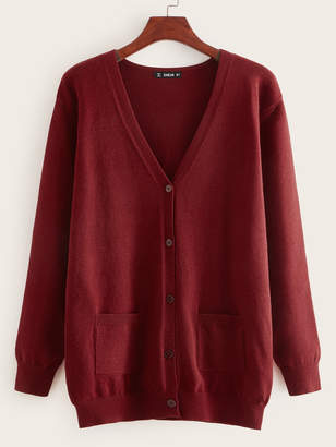 Shein Pocket Front Button Up Cardigan