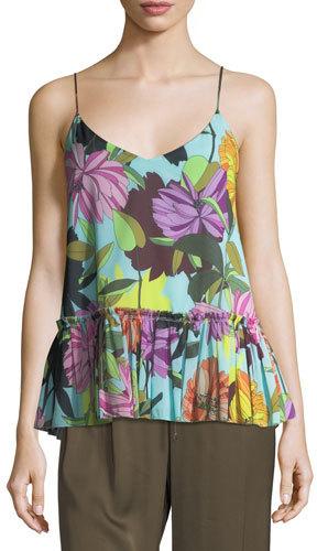 Trina Turk Flounce Bottom Floral-Print Tank Top