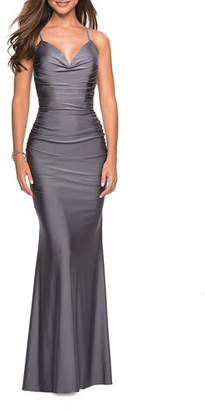 5eec01fc7d6 La Femme Sweetheart Sleeveless Ruched Jersey Gown with Strappy-Back