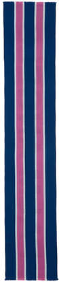 Palm Angels Blue and Pink Striped Scarf
