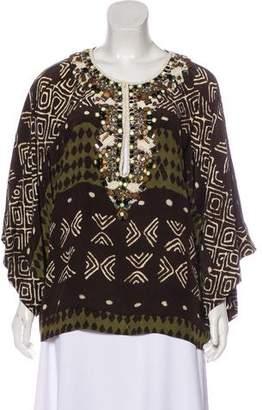 Oscar de la Renta Embellished Long Sleeve Blouse
