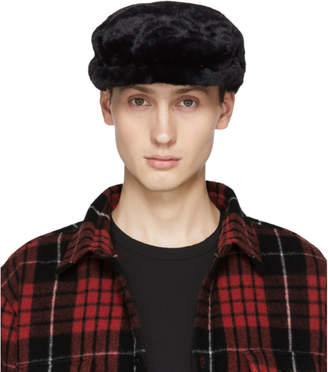 DSQUARED2 Black and White Faux-Fur Driver Hat