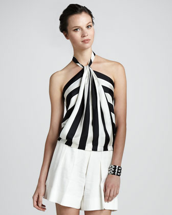 Robert Rodriguez Striped Silk Halter Top