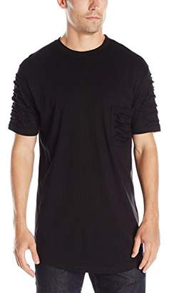 WT02 Men's Short Sleeve Scallop Tee with Zipper Trim On Side