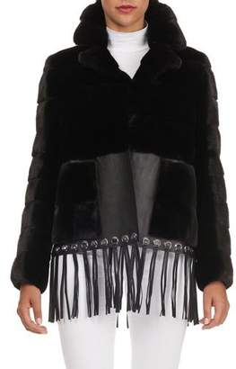 Gianfranco Ferre Fringed-Leather Hem Quilted Mink Fur Jacket