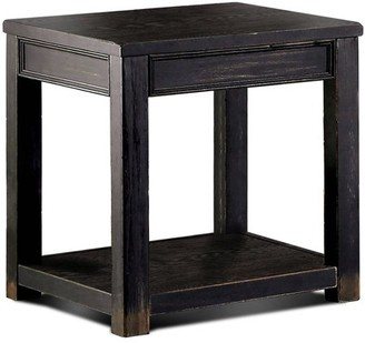 Furniture of America Denver Rustic End Table, Antique Black