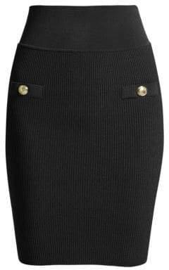 Balmain Women's Ribbed Button Pencil Skirt - Black - Size 40 (8)