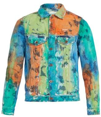Off-White Off White Distressed Denim Jacket - Mens - Multi