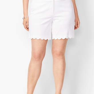Talbots Textured Scallop-Hem Shorts - Honeycomb