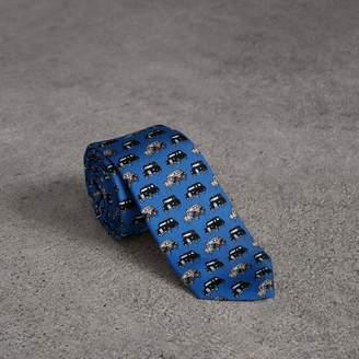 Burberry Slim Cut Taxi Print Silk Tie