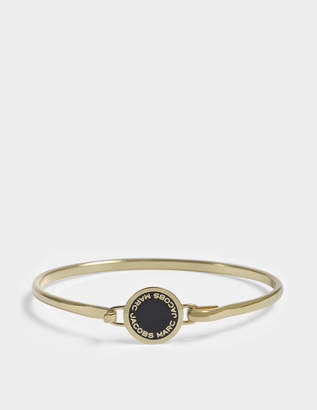 Marc Jacobs Enamel Logo Disc Hinge Bracelet in Black and Gold Brass