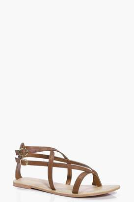 boohoo Leather Thong Wrap Strap Sandals