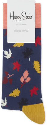 Happy Socks Mens Navy Casual Autum Leaf Print Cotton Socks