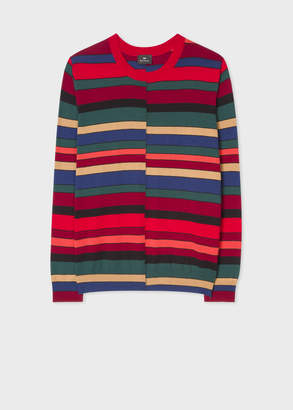 Paul Smith Men's Red Wool Sweater With Multi-Coloured Stripes