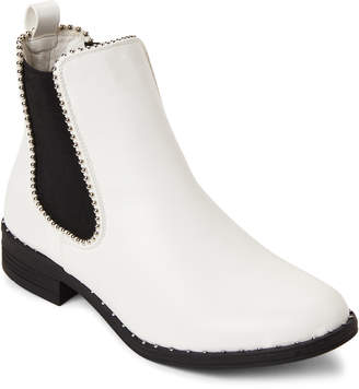 Wild Diva Lounge White & Black Misty Studded Trim Boots