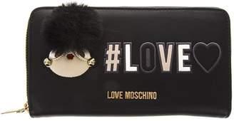 Love Moschino Black Wallet With Pom Pom & Logo Print Details