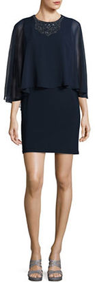 Betsy & Adam Embellished Cape Dress $189 thestylecure.com