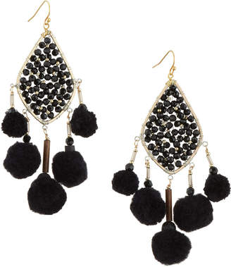 Nakamol Beaded Pompom Crystal Kite Earrings