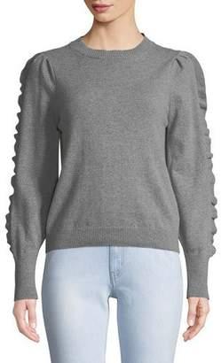 MiH Jeans Bianca Cashmere/Wool Ruffle Crewneck Sweater