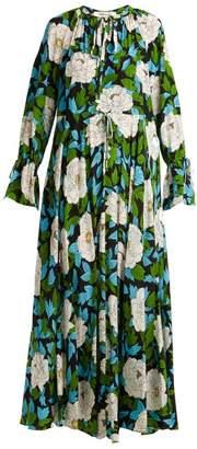 Diane von Furstenberg Bethany Floral Print Silk Dress - Womens - Green Print