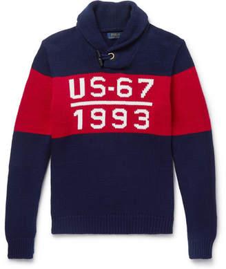 Polo Ralph Lauren 1993 Shawl-Collar Intarsia Cotton Sweater
