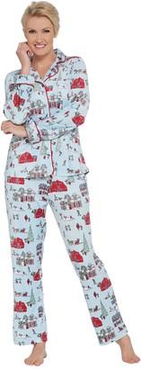 Carole Hochman Silky Velour Notch Collar 2-Piece Pajama Set
