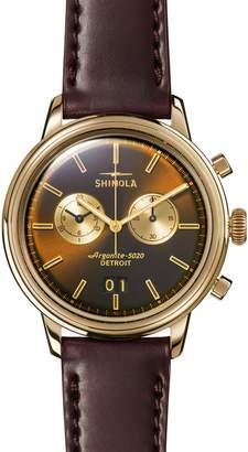 Shinola Bedrock Chronograph Leather Strap Watch, 42mm