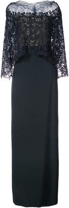 Monique Lhuillier layered lace detail fitted dress