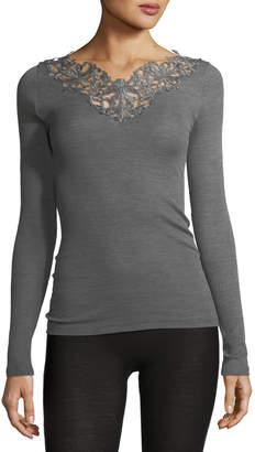 Zimmerli Pure Opulence Lace-Trim Wool-Silk Top