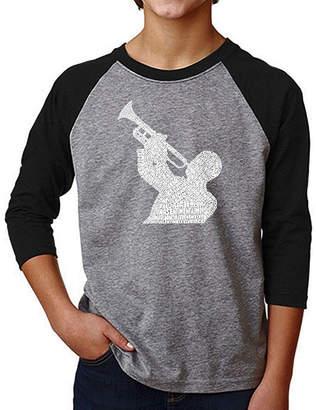 LOS ANGELES POP ART Los Angeles Pop Art Boy's Raglan Baseball Word Art T-shirt - ALL TIME JAZZ SONGS