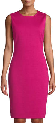 St. John Sleeveless Milano-Knit A-Line Dress, Pink