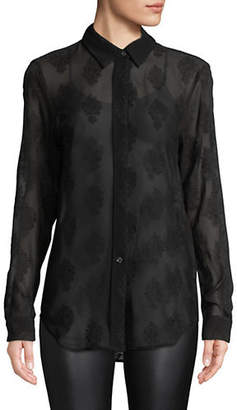 Theory Silk-Blend Essential Button-Down Shirt